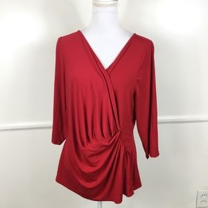 Lane Bryant Red Faux Wrap Top Womens 14/16